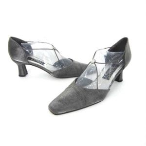 Silver Gray d'Orsay Pumps Heels Rhinestone 8 AA 8N